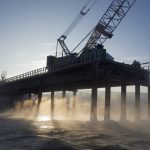 Peace River Bridge construction