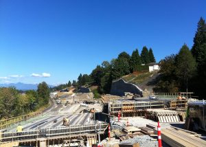highway bridge construction in metro vancouver with precast concrete components