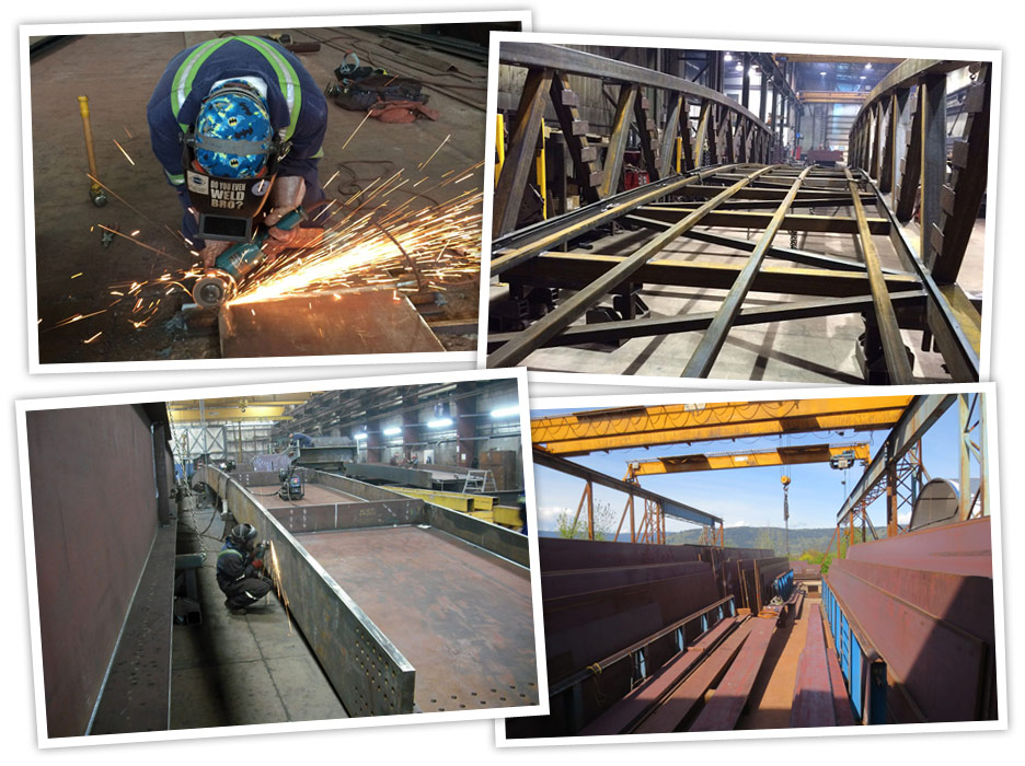 Structural steel fabrication of bridge components and other custom structural steel